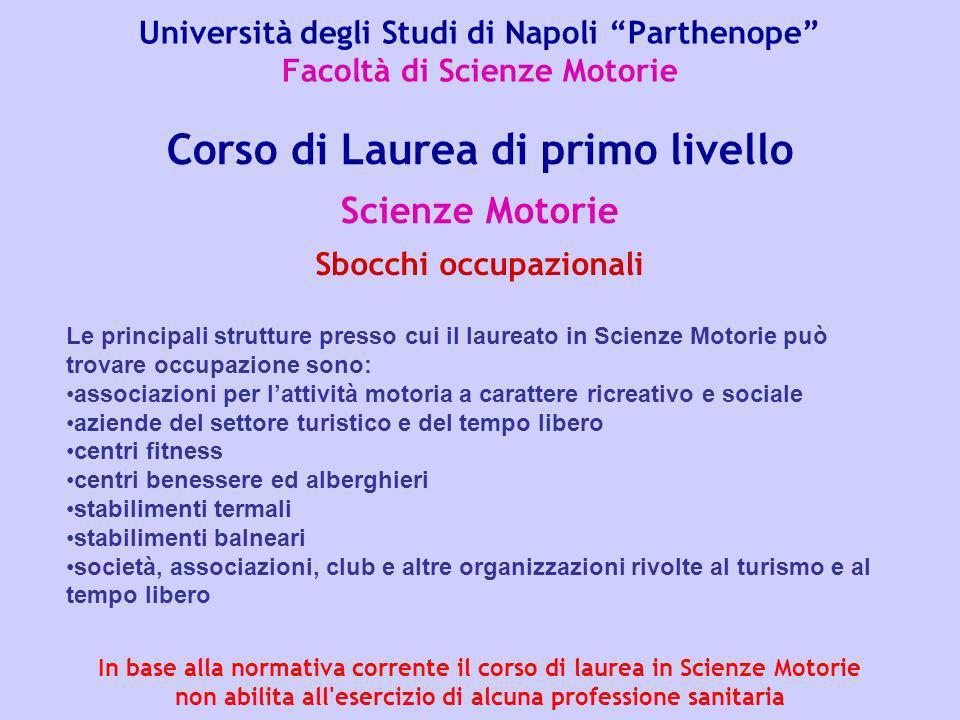 Università degli Studi di Napoli Parthenope Facoltà di Scienze Motorie Scienze Motorie Corso di Laurea di primo livello Sbocchi occupazionali Le princ