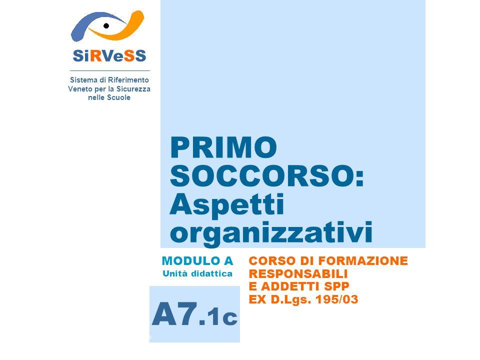 PRIMO SOCCORSO: Aspetti organizzativi SiRVeSS Sistema di Riferimento Veneto per la Sicurezza nelle Scuole A7.1c MODULO A Unità didattica CORSO DI FORMAZIONE RESPONSABILI E ADDETTI SPP EX D.Lgs.