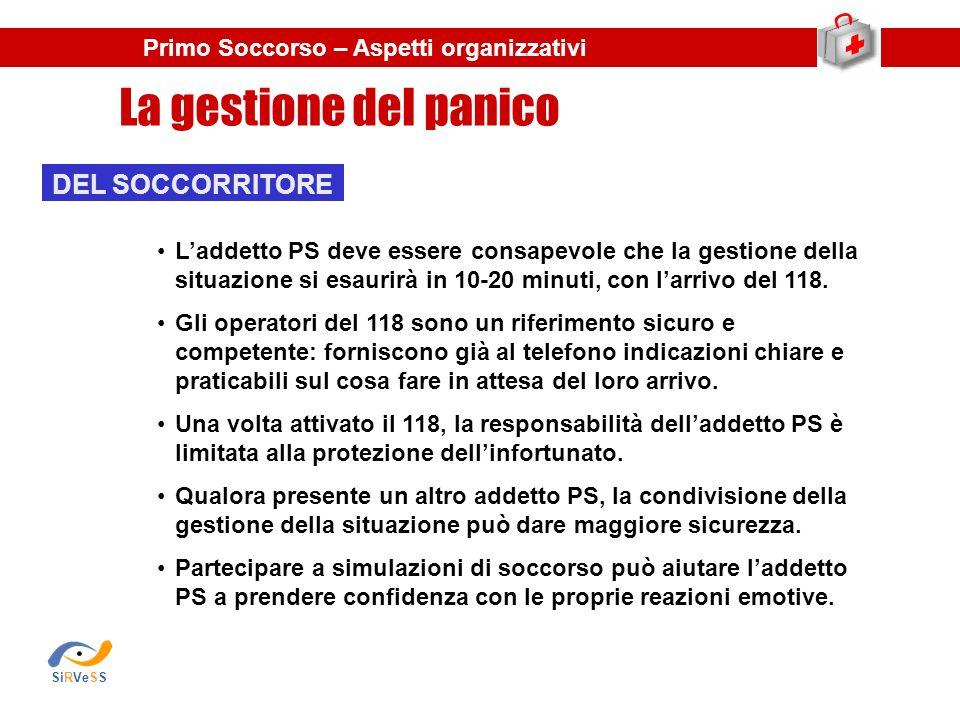 La gestione del panico Primo Soccorso – Aspetti organizzativi DEL SOCCORRITORE Laddetto PS deve essere consapevole che la gestione della situazione si esaurirà in 10-20 minuti, con larrivo del 118.
