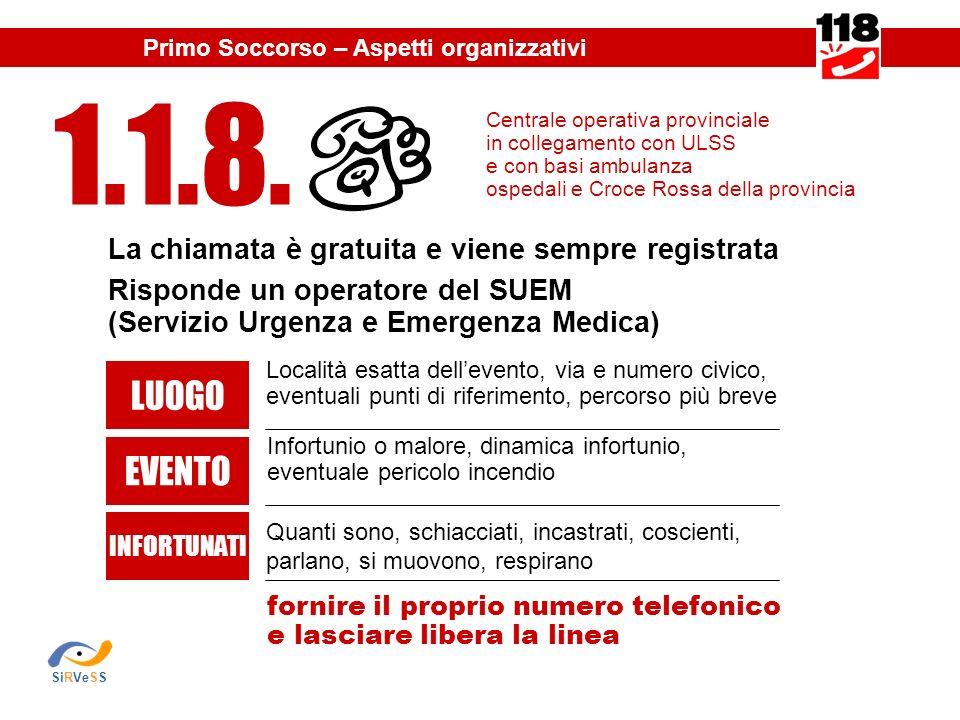 La chiamata è gratuita e viene sempre registrata Risponde un operatore del SUEM (Servizio Urgenza e Emergenza Medica) Centrale operativa provinciale i