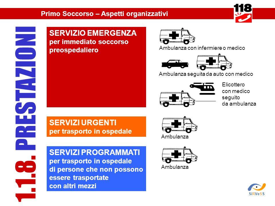 SERVIZIO EMERGENZA per immediato soccorso preospedaliero SERVIZI URGENTI per trasporto in ospedale SERVIZI PROGRAMMATI per trasporto in ospedale di persone che non possono essere trasportate con altri mezzi 1.1.8.