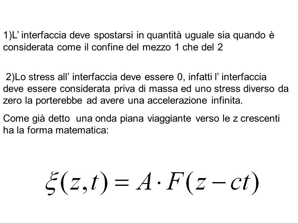 1)L interfaccia deve spostarsi in quantità uguale sia quando è considerata come il confine del mezzo 1 che del 2 2)Lo stress all interfaccia deve essere 0, infatti l interfaccia deve essere considerata priva di massa ed uno stress diverso da zero la porterebbe ad avere una accelerazione infinita.
