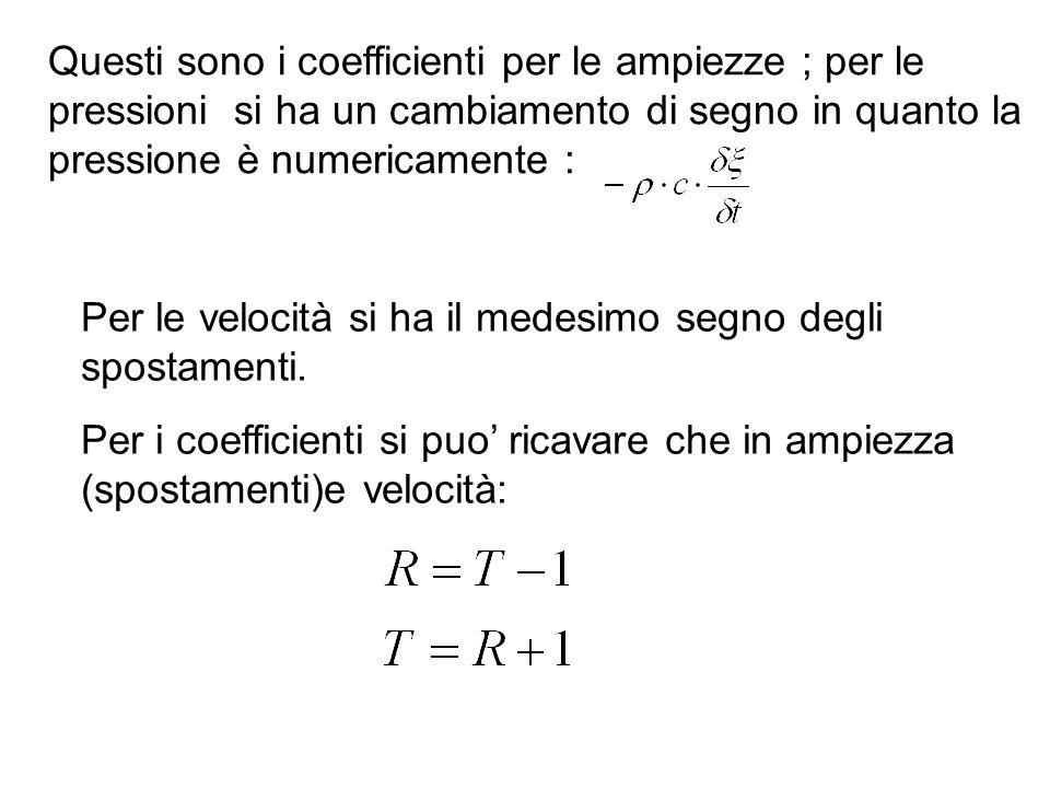 Per i coefficienti si puo ricavare che in pressione: