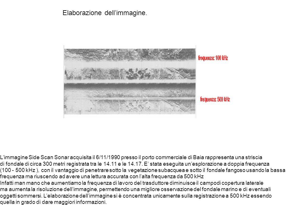 Elaborazione dellimmagine. Limmagine Side Scan Sonar acquisita il 6/11/1990 presso il porto commerciale di Baia rappresenta una striscia di fondale di
