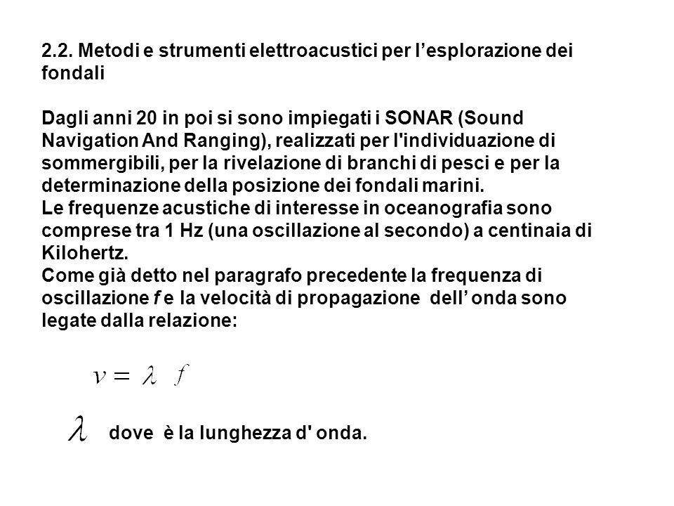 2.2. Metodi e strumenti elettroacustici per lesplorazione dei fondali Dagli anni 20 in poi si sono impiegati i SONAR (Sound Navigation And Ranging), r