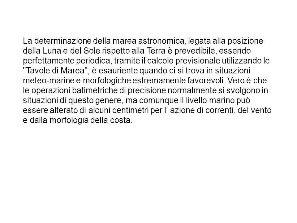 La determinazione della marea astronomica, legata alla posizione della Luna e del Sole rispetto alla Terra è prevedibile, essendo perfettamente period
