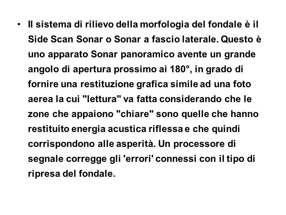 Il sistema di rilievo della morfologia del fondale è il Side Scan Sonar o Sonar a fascio laterale. Questo è uno apparato Sonar panoramico avente un gr