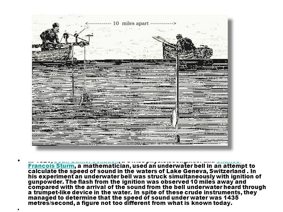 In 1826, Jean-Daniel Colladen, a Swiss physicist/engineer and Charles- Francois Sturm, a mathematician, used an underwater bell in an attempt to calcu