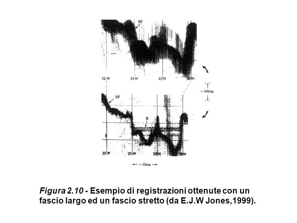 Figura 2.10 - Esempio di registrazioni ottenute con un fascio largo ed un fascio stretto (da E.J.W Jones,1999).