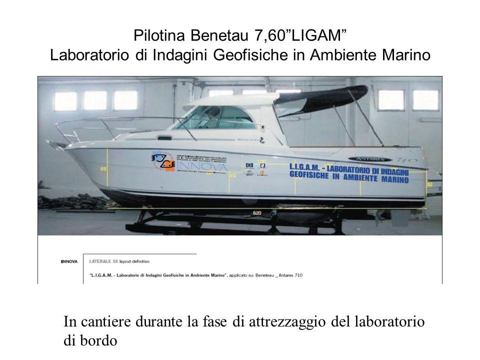 Pilotina Benetau 7,60LIGAM Laboratorio di Indagini Geofisiche in Ambiente Marino In cantiere durante la fase di attrezzaggio del laboratorio di bordo