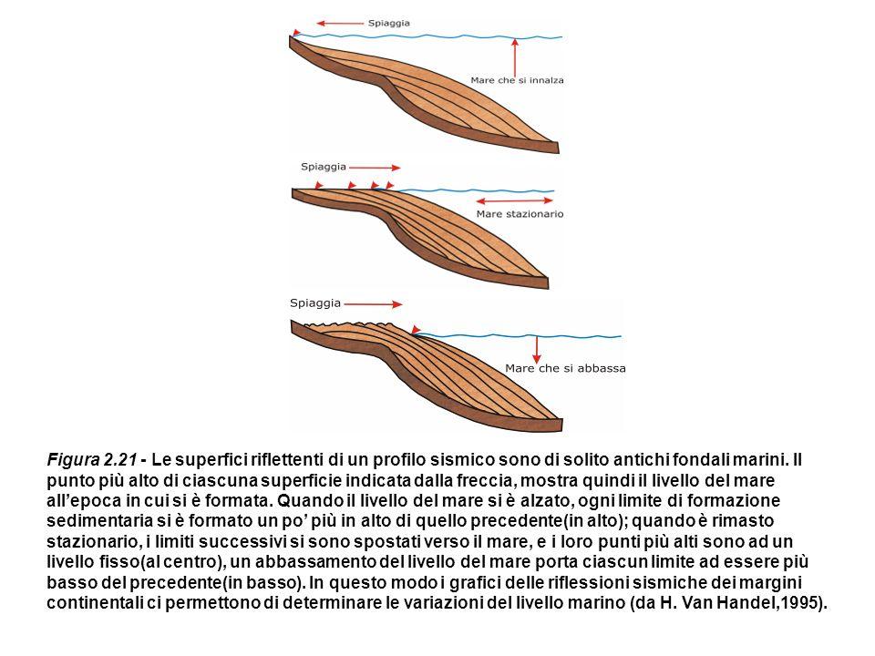 Figura 2.21 - Le superfici riflettenti di un profilo sismico sono di solito antichi fondali marini. Il punto più alto di ciascuna superficie indicata