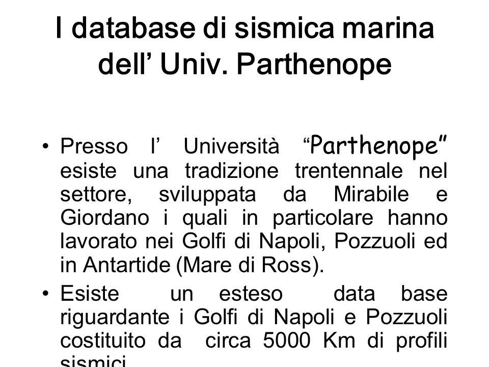 I database di sismica marina dell Univ.