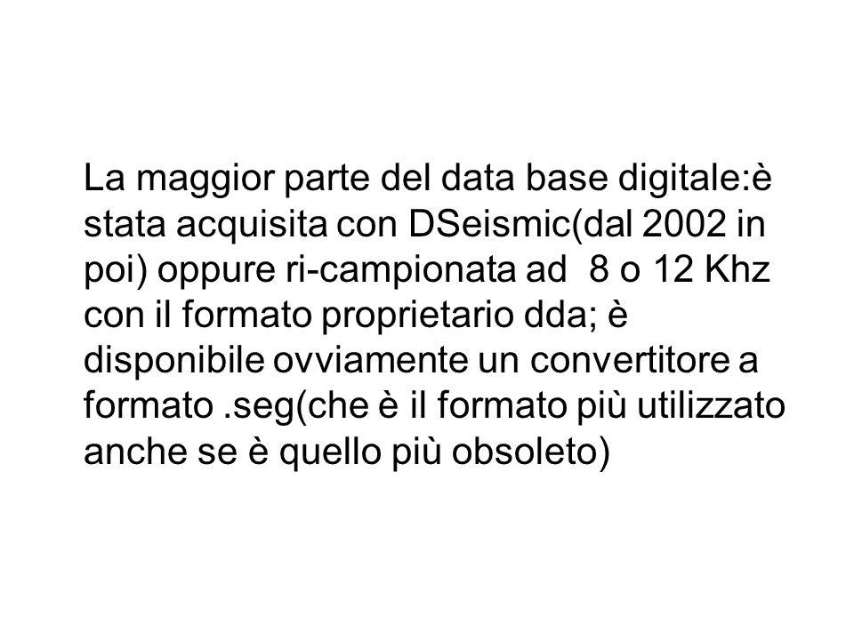 La maggior parte del data base digitale:è stata acquisita con DSeismic(dal 2002 in poi) oppure ri-campionata ad 8 o 12 Khz con il formato proprietario dda; è disponibile ovviamente un convertitore a formato.seg(che è il formato più utilizzato anche se è quello più obsoleto)