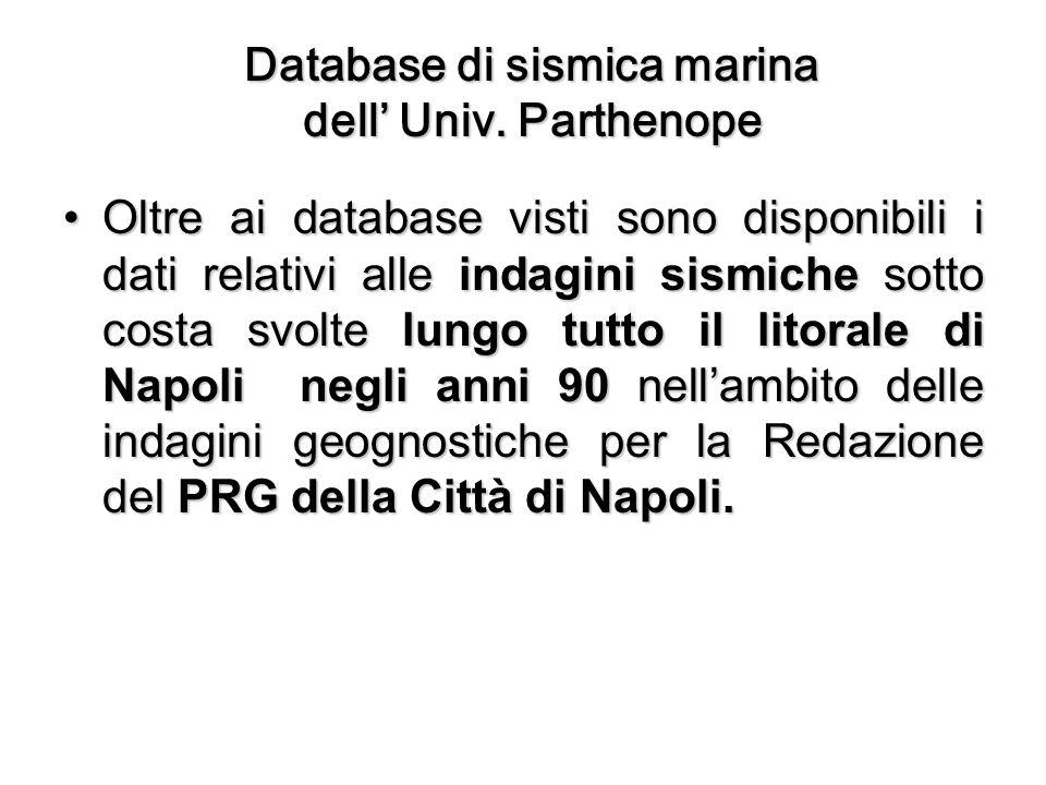 Database di sismica marina dell Univ.