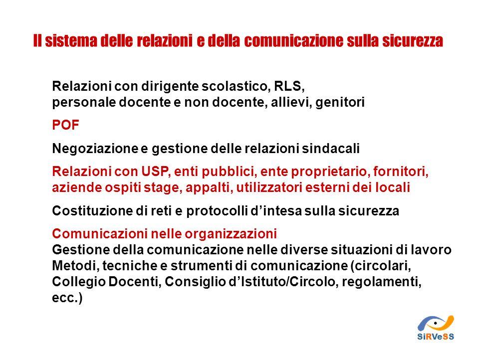 Relazioni con dirigente scolastico, RLS, personale docente e non docente, allievi, genitori POF Negoziazione e gestione delle relazioni sindacali Rela