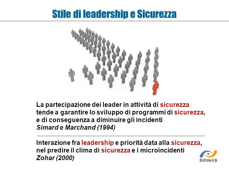 Stile di leadership e Sicurezza La partecipazione dei leader in attività di sicurezza tende a garantire lo sviluppo di programmi di sicurezza, e di co