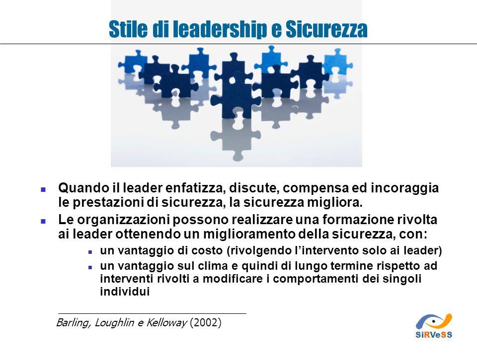 Stile di leadership e Sicurezza Quando il leader enfatizza, discute, compensa ed incoraggia le prestazioni di sicurezza, la sicurezza migliora. Le org