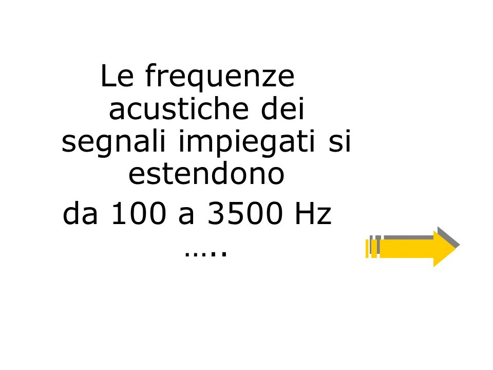 Le frequenze acustiche dei segnali impiegati si estendono da 100 a 3500 Hz …..
