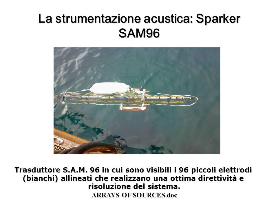 La strumentazione acustica: Sparker SAM96 Trasduttore S.A.M. 96 in cui sono visibili i 96 piccoli elettrodi (bianchi) allineati che realizzano una ott
