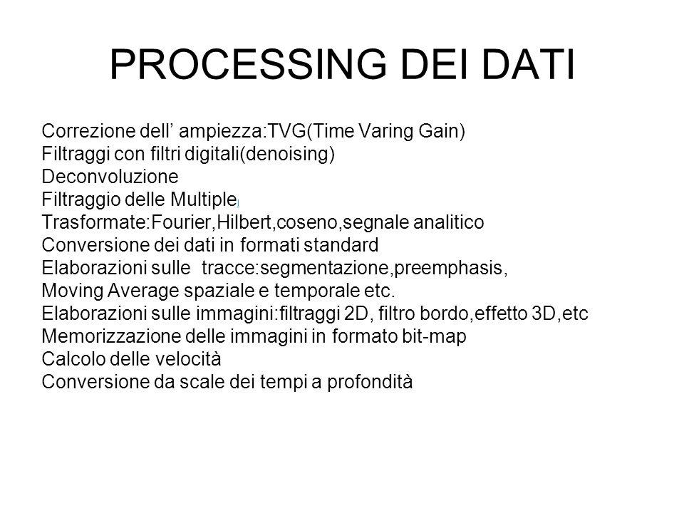 PROCESSING DEI DATI Correzione dell ampiezza:TVG(Time Varing Gain) Filtraggi con filtri digitali(denoising) Deconvoluzione Filtraggio delle Multiple I I Trasformate:Fourier,Hilbert,coseno,segnale analitico Conversione dei dati in formati standard Elaborazioni sulle tracce:segmentazione,preemphasis, Moving Average spaziale e temporale etc.