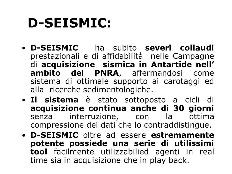 D-SEISMIC ha subito severi collaudi prestazionali e di affidabilità nelle Campagne di acquisizione sismica in Antartide nell ambito del PNRA, affermandosi come sistema di ottimale supporto ai carotaggi ed alla ricerche sedimentologiche.