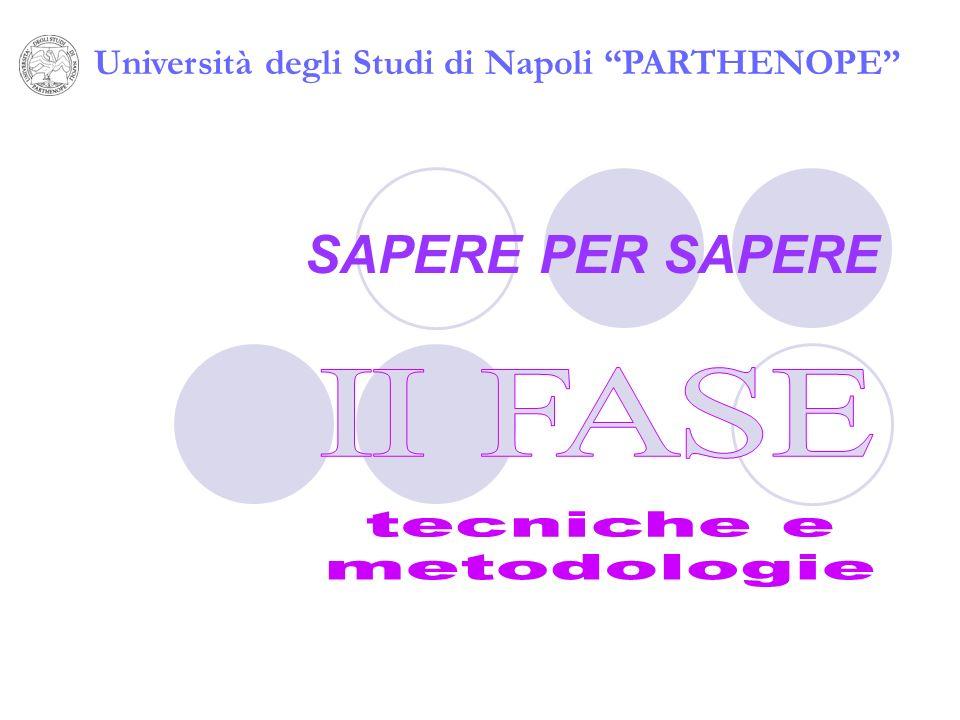 SAPERE PER SAPERE Università degli Studi di Napoli PARTHENOPE