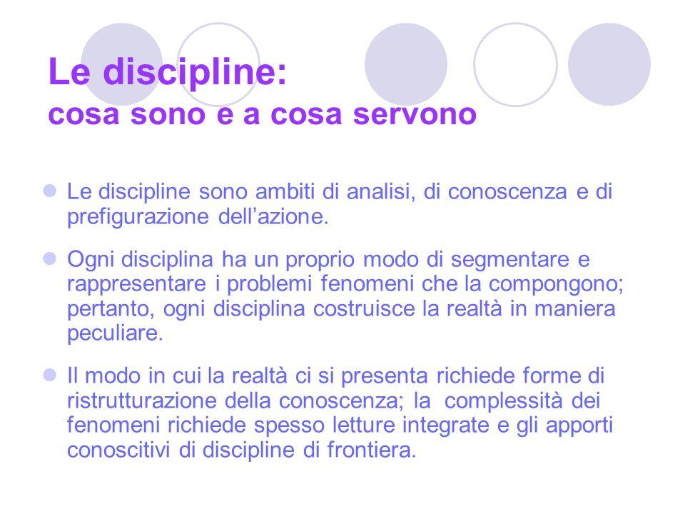 Le discipline: cosa sono e a cosa servono Le discipline sono ambiti di analisi, di conoscenza e di prefigurazione dellazione.