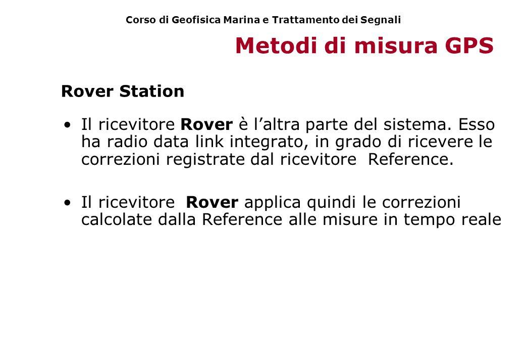 Metodi di misura GPS Il ricevitore Rover è laltra parte del sistema. Esso ha radio data link integrato, in grado di ricevere le correzioni registrate