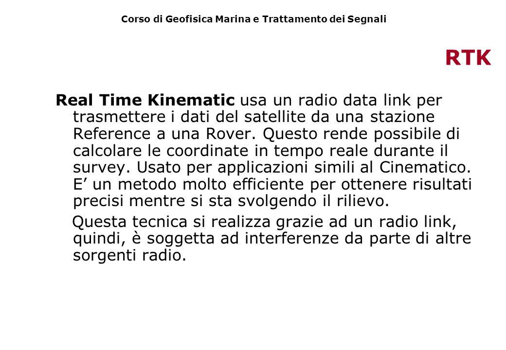 RTK Real Time Kinematic usa un radio data link per trasmettere i dati del satellite da una stazione Reference a una Rover. Questo rende possibile di c