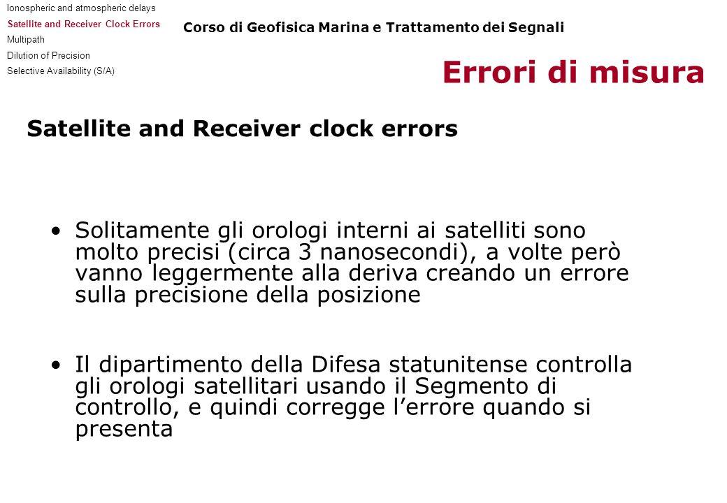 Satellite and Receiver clock errors Solitamente gli orologi interni ai satelliti sono molto precisi (circa 3 nanosecondi), a volte però vanno leggerme