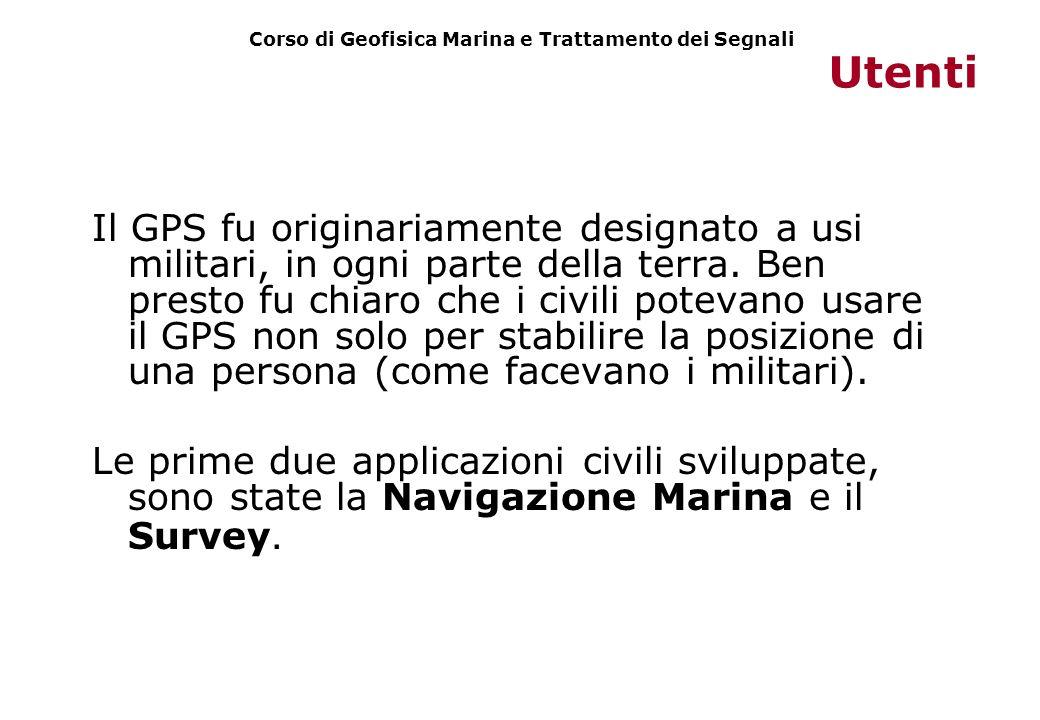 Utenti Il GPS fu originariamente designato a usi militari, in ogni parte della terra. Ben presto fu chiaro che i civili potevano usare il GPS non solo