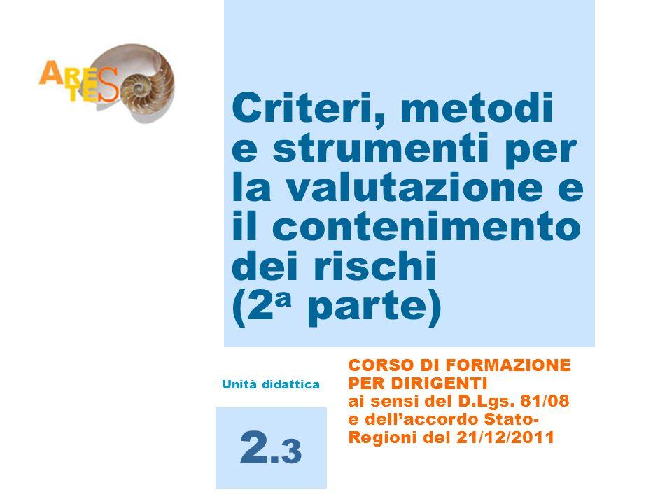 Criteri, metodi e strumenti per la valutazione e il contenimento dei rischi (2 a parte) 2.3 CORSO DI FORMAZIONE PER DIRIGENTI ai sensi del D.Lgs. 81/0