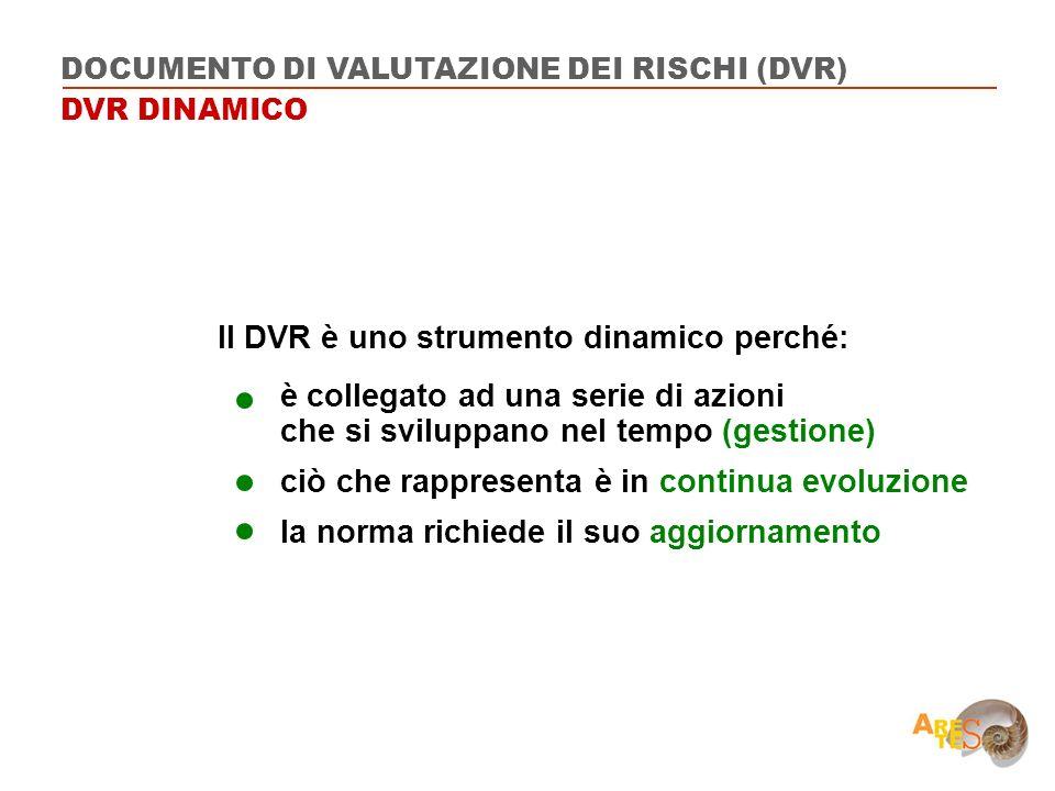 Il DVR è uno strumento dinamico perché: è collegato ad una serie di azioni che si sviluppano nel tempo (gestione) ciò che rappresenta è in continua ev