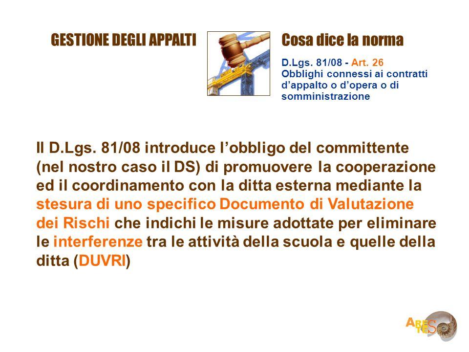 Il D.Lgs. 81/08 introduce lobbligo del committente (nel nostro caso il DS) di promuovere la cooperazione ed il coordinamento con la ditta esterna medi