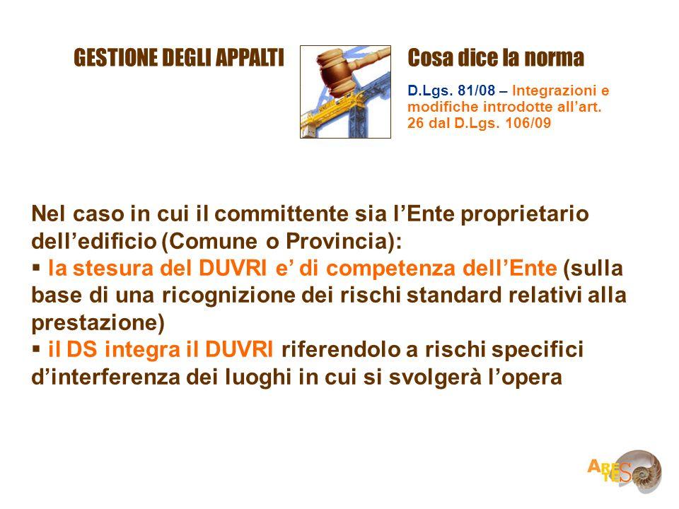 GESTIONE DEGLI APPALTICosa dice la norma D.Lgs. 81/08 – Integrazioni e modifiche introdotte allart. 26 dal D.Lgs. 106/09 Nel caso in cui il committent