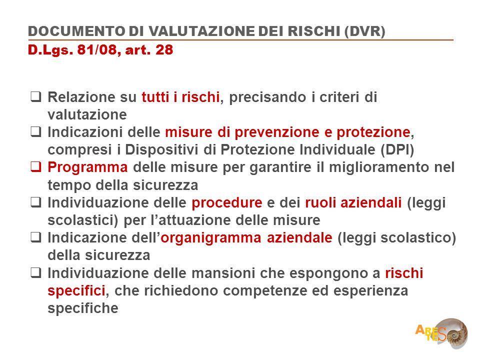 Relazione su tutti i rischi, precisando i criteri di valutazione Indicazioni delle misure di prevenzione e protezione, compresi i Dispositivi di Prote