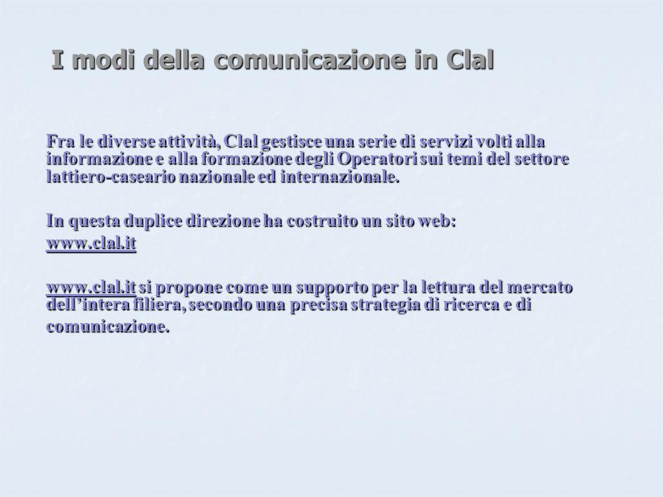 I modi della comunicazione in Clal Fra le diverse attività, Clal gestisce una serie di servizi volti alla informazione e alla formazione degli Operatori sui temi del settore lattiero-caseario nazionale ed internazionale.