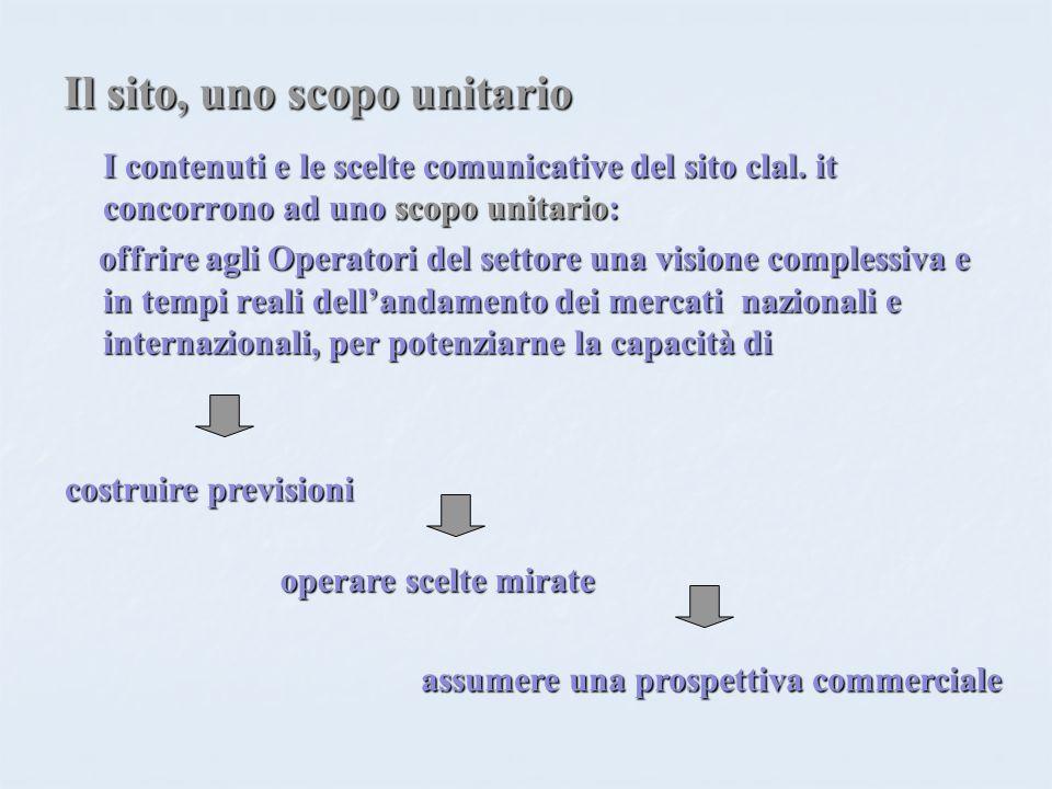 Il sito, uno scopo unitario I contenuti e le scelte comunicative del sito clal. it concorrono ad uno scopo unitario: offrire agli Operatori del settor