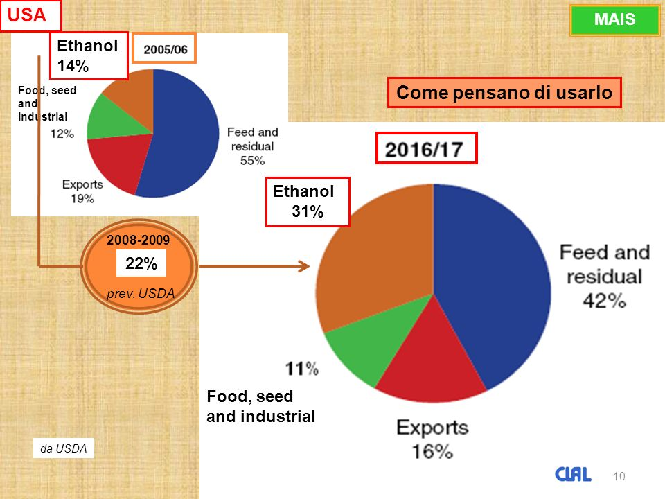 10 Ethanol 31% Ethanol 14% Food, seed and industrial Come pensano di usarlo 10 2008-2009 22% prev.