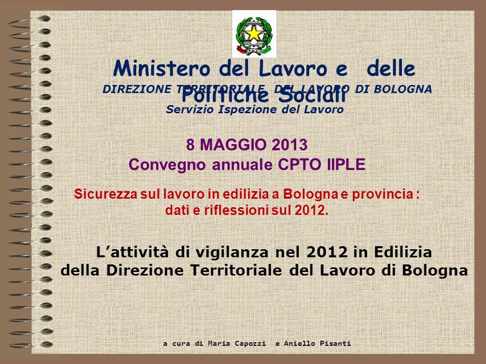 Servizio Ispezione del Lavoro Lattività di vigilanza nel 2012 in Edilizia della Direzione Territoriale del Lavoro di Bologna DIREZIONE TERRITORIALE DE