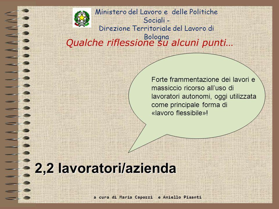 2,2 lavoratori/azienda Qualche riflessione su alcuni punti… Ministero del Lavoro e delle Politiche Sociali - Direzione Territoriale del Lavoro di Bolo