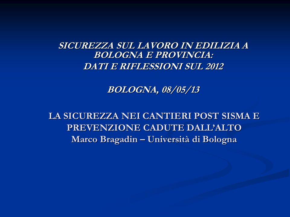 LA SICUREZZA NEI CANTIERI POST SISMA E PREVENZIONE CADUTE DALLALTO Marco Bragadin – Università di Bologna SICUREZZA SUL LAVORO IN EDILIZIA A BOLOGNA E