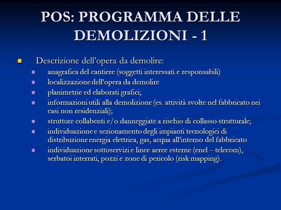 POS: PROGRAMMA DELLE DEMOLIZIONI - 1 Descrizione dellopera da demolire: Descrizione dellopera da demolire: anagrafica del cantiere (soggetti interessa