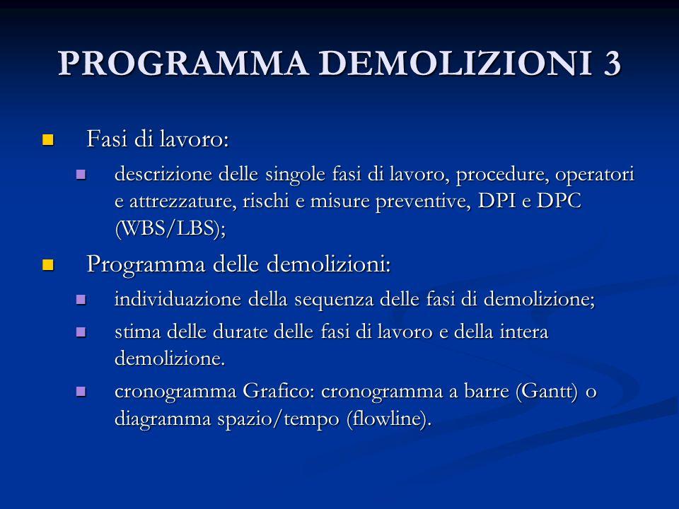 PROGRAMMA DEMOLIZIONI 3 Fasi di lavoro: Fasi di lavoro: descrizione delle singole fasi di lavoro, procedure, operatori e attrezzature, rischi e misure