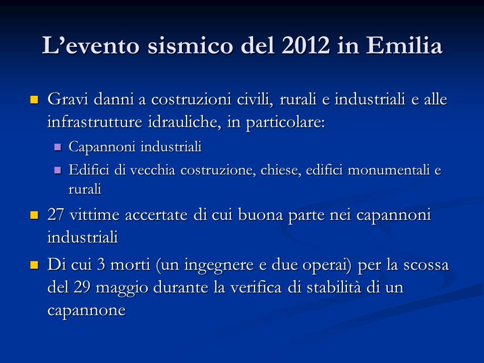Levento sismico del 2012 in Emilia Gravi danni a costruzioni civili, rurali e industriali e alle infrastrutture idrauliche, in particolare: Gravi dann
