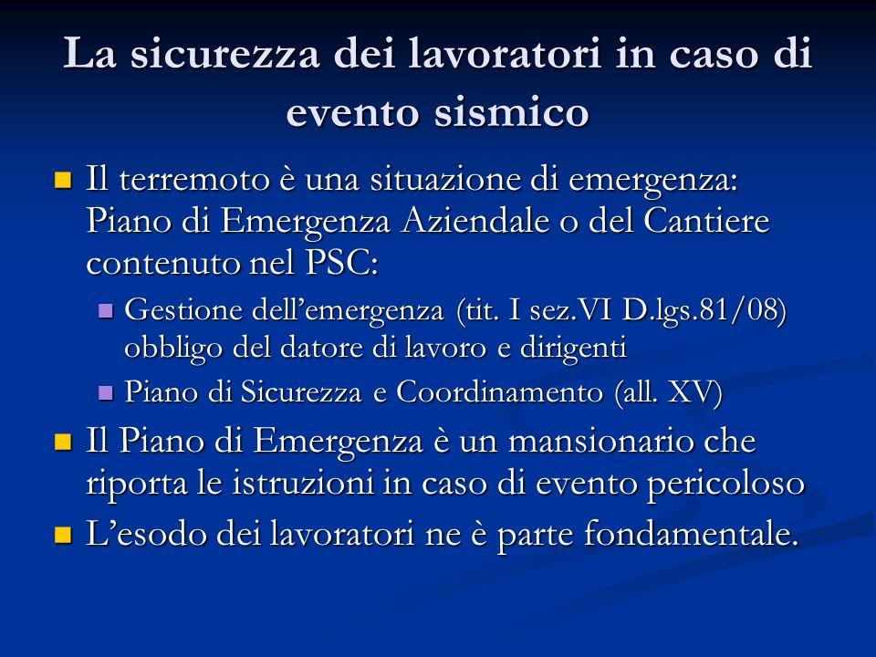 La sicurezza dei lavoratori in caso di evento sismico Il terremoto è una situazione di emergenza: Piano di Emergenza Aziendale o del Cantiere contenut