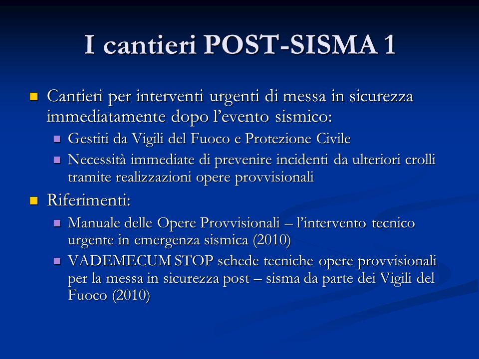 I cantieri POST-SISMA 1 Cantieri per interventi urgenti di messa in sicurezza immediatamente dopo levento sismico: Cantieri per interventi urgenti di