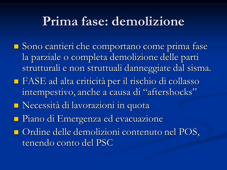 Prima fase: demolizione Sono cantieri che comportano come prima fase la parziale o completa demolizione delle parti strutturali e non struttuali danne