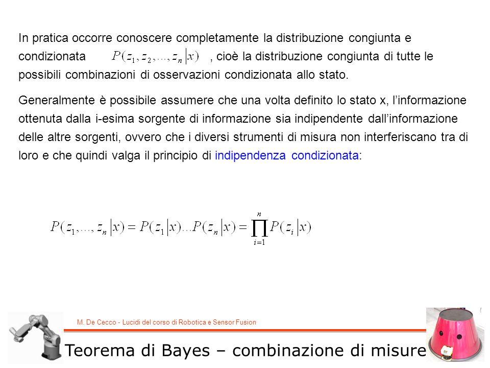 M. De Cecco - Lucidi del corso di Robotica e Sensor Fusion Teorema di Bayes – combinazione di misure In pratica occorre conoscere completamente la dis