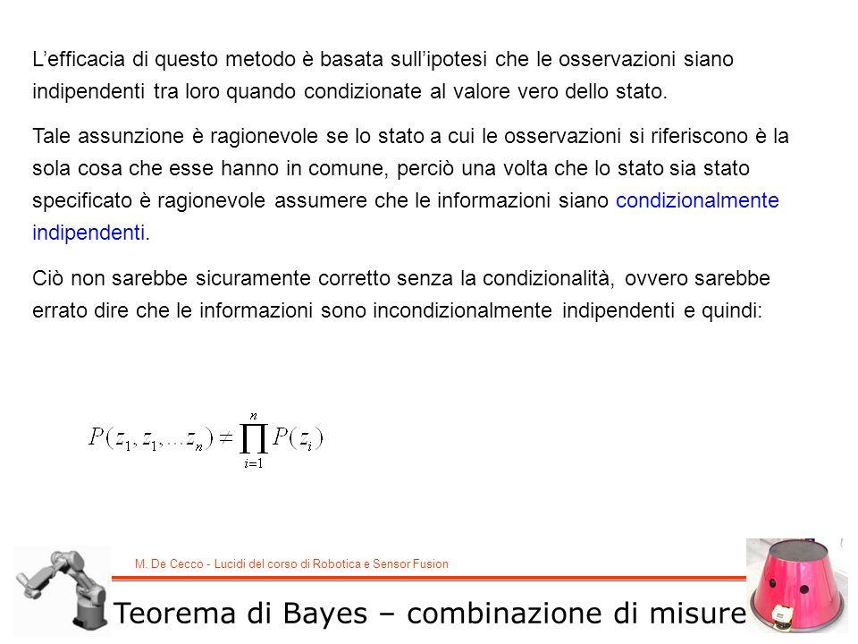 M. De Cecco - Lucidi del corso di Robotica e Sensor Fusion Teorema di Bayes – combinazione di misure Lefficacia di questo metodo è basata sullipotesi